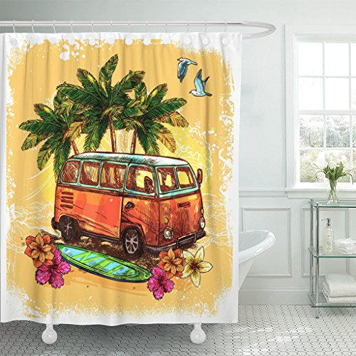 Breezat Shower Curtain Hippie Surf Hippy Style Vintage Old Bus with Surfboard Flowers and Palm Sketch Color Van Waterproof Polyester Fabric 72 x 72 Inches Set with Hooks (Hippy Van)