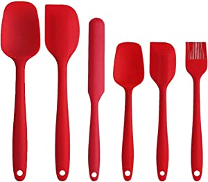 Silicone Spatula Set, YISSCEN Heat Resistant Scraperswith Strong Stainless Steel Core, Non-Stick Baking Utensils Sets for Cooking, Baking and Mixing (6PCS - Red)