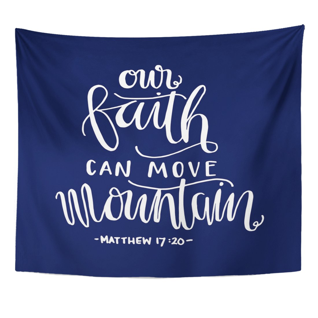 Breezat Tapestry Scripture Our Faith Can Move Mountains Bible Verse Hand Lettered Quote Modern Calligraphy Christian Home Decor Wall Hanging for Living Room Bedroom Dorm 50x60 Inches