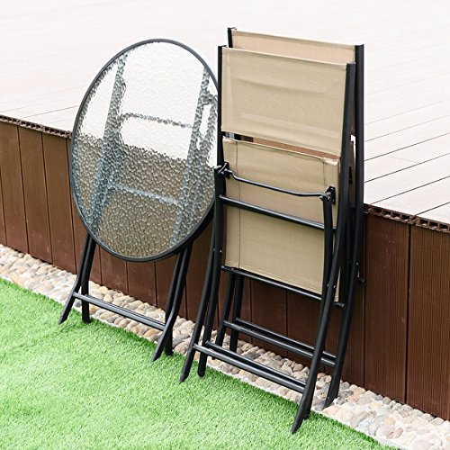 Costway 3 Piece Table Chair Set Metal Tempered Glass Folding Outdoor Patio Garden Pool by COSTWAY (Image #2)