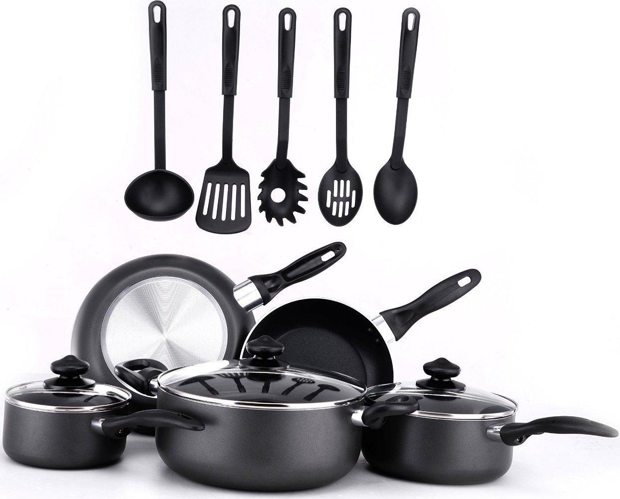 Amazon.com: 13 Pieces Kitchen Cookware Set - Black, Highly Durable ...