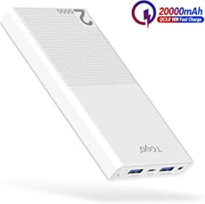 Cell Phone Battery Charger Portable TG90 20000mAh External Battery Power Packs, QC3.0 Power Bank Quick Charge Portable Battery Charger Compatible for iPhone, iPad, Android Phones and More