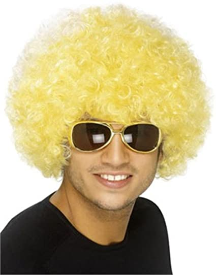 Amazon.com  Block Buster Costumes New Mens Womens Child Costume Blond  Yellow Afro Wigs  Clothing c7112638f