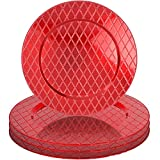 Red Diamond Pattern 13'' Round Plastic Charger Dinner Plates by bogo Brands (Set of 4)