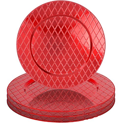 Red Diamond Pattern 13'' Round Plastic Charger Dinner Plates by bogo Brands (Set of 4) by bogo Brands