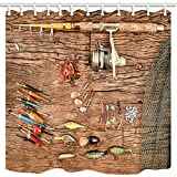 Fishing Lure Shower Curtain Hooks NYMB Nautical Fishing Bath Curtains for Bathroom, Fish Rod with Lure on Wooden, Mildew Resistant Fabric Shower Curtain, Shower Curtains Hooks Included, 69X70in