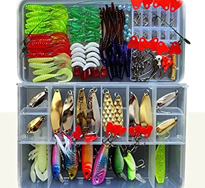 Fishing Lure Kit for Freshwater Saltwater,trout Bass Salmon(with Free Tackle Box)-include Vivid Spinner Baits,topwater Frog Lures,crankbaits Lures,spoon Lures,and More