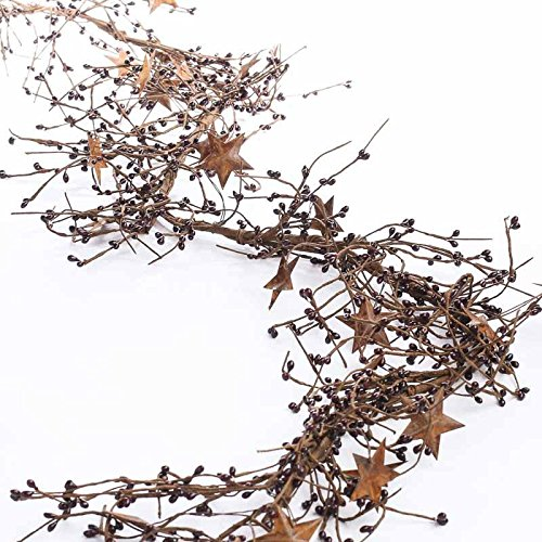 Flexible and Full Burgundy Pip Berry Garland Rusty Stars for Decorating, Creating and (Primitive Berry)