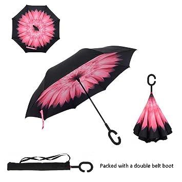 Paraguas de cierre invertido, de Asiki, cortavientos, plegable, doble capa, asa
