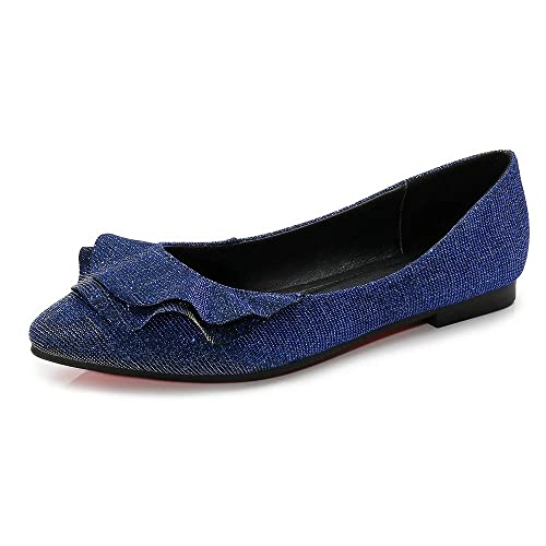 b615be3cb6caa Meeshine Womens Shoes Faux Suede Slip On Scallped Collar Glitter Pointed  Toe Ballet Flats