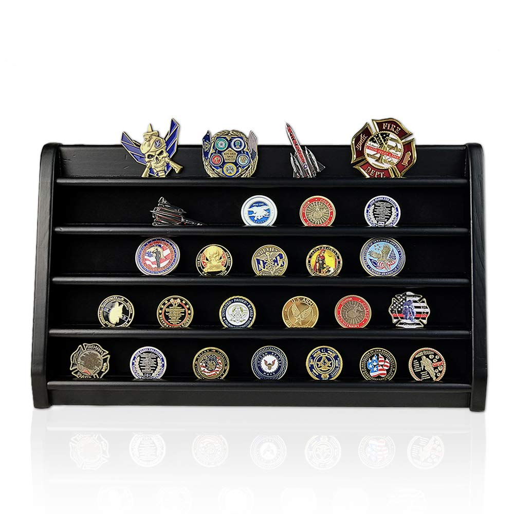 XJmil Military Challenge Coin Holder Wooden Rack Challenge Coin Display Stand 5 Rows Black Finish by XJmil