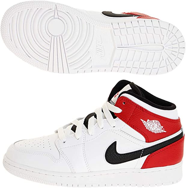 Mid White/Black/Gym Red Sneakers