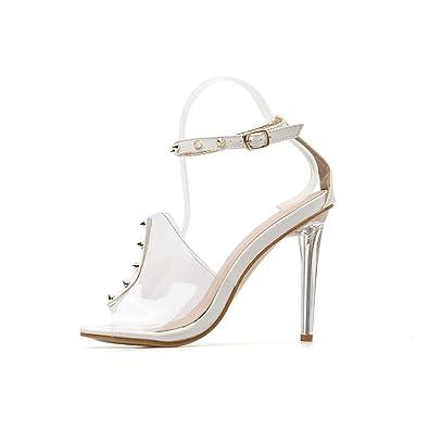 087151a6133 Amazon.com | Roman Transparent Rivet Women Shoes Sexy High Heels ...