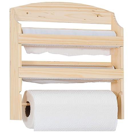 Kesper - Estantería de cocina con soporte para rollo de papel (34 x 11 x