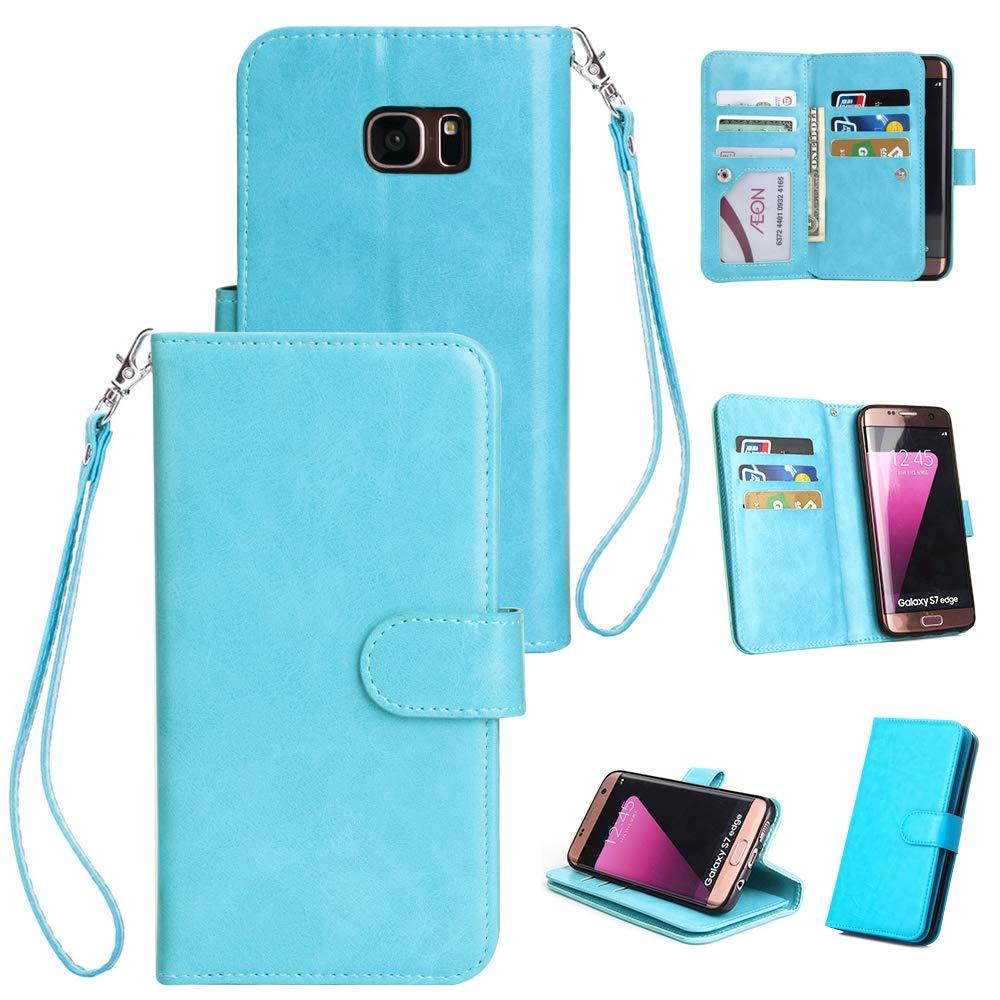 Artiler Handyhülle für Samsung Galaxy s7 Edge Hülle Premium PU Leder Flip Cover mit Magnetverschluss Telefon Ständer und 9 Kartensteckplätze Brieftasche