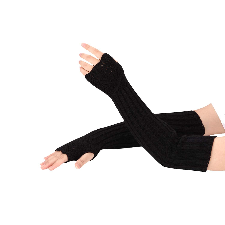 Folamer Unisex Warm Winter Half Finger Stretchy Knit Gloves Arm Warmer Fingerless Gloves for Men Women