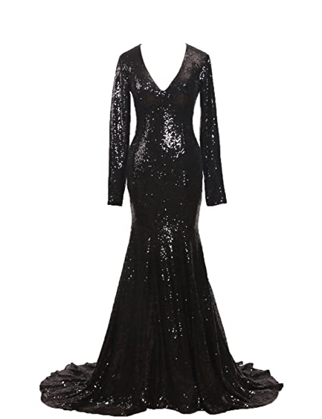745b48e0fc1e CIRCLEWLD Mermaid Prom Dresses Long Sleeves Sequins Evening Gowns for Women Formal  Black Size 2
