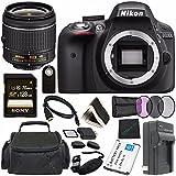 Nikon D3300 DSLR Camera with AF-P 18-55mm VR Lens (Black) + Toshiba Flash Air III Wireless SD Memory Card 16GB + Fibercloth Bundle