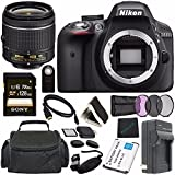 Cheap Nikon D3300 DSLR Camera with AF-P 18-55mm VR Lens (Black) + Toshiba Flash Air III Wireless SD Memory Card 16GB + Fibercloth Bundle