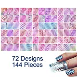 #3: 144 Pieces 72 Designs Nail Vinyls Stencil Sticker Set for Nail Art Decal, TailaiMei 24 Sheets Reusable DIY Hollow Nail Art Supplies