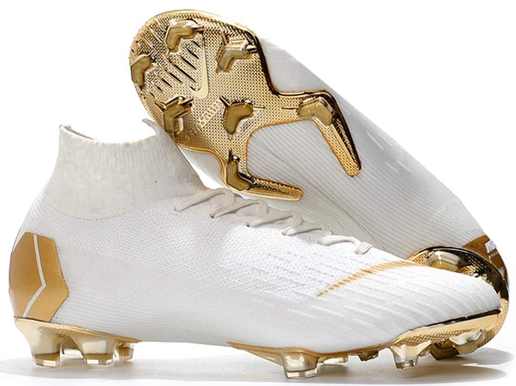 Ninakova2018 Men's High Ankle Soccer Cleats Mercurial Superfly 360 Elite FG White/Gold