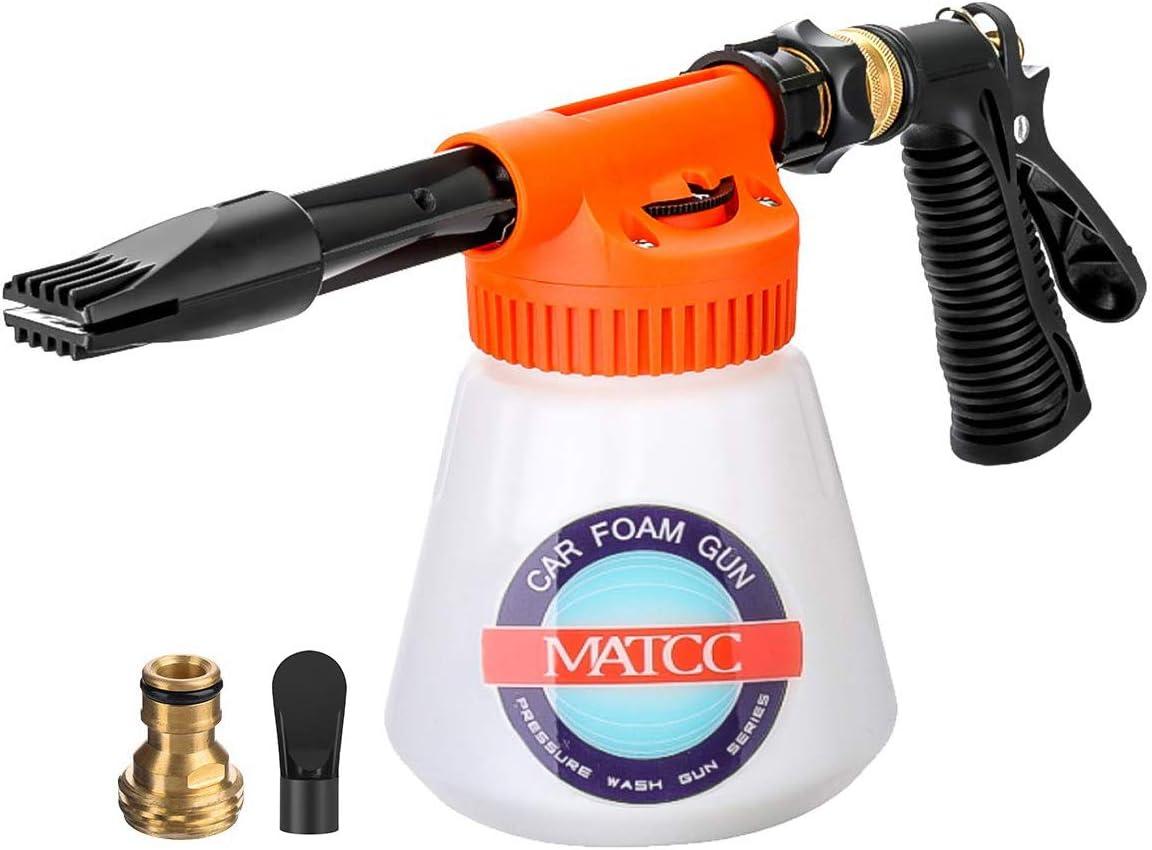 MATCC Pistola de Espuma para Automóvil Pulverizador de Espuma Pulverizador de Extremo de Manguera Relación Ajustable Adecuado para Manguera de Jardín Coche Limpieza del Hogar Jardín 0.23 Galones