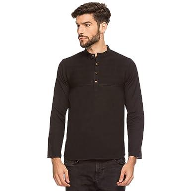 e0ca7eb0 Shatranj Men's Indian Band Collar Henley Shirt Short Tunic Kurta Pin-Tucks  at Amazon Men's Clothing store:
