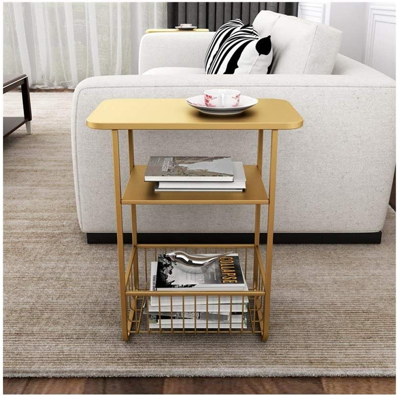 Winkelen Voor Moderne Salontafel Drielaags Multifunctionele Opslag Salontafel Moderne Woning Display Stand Eenvoudig Nachtkastje 50X30X61CM 4.11 (Color : Black) Gold 2O662Rb