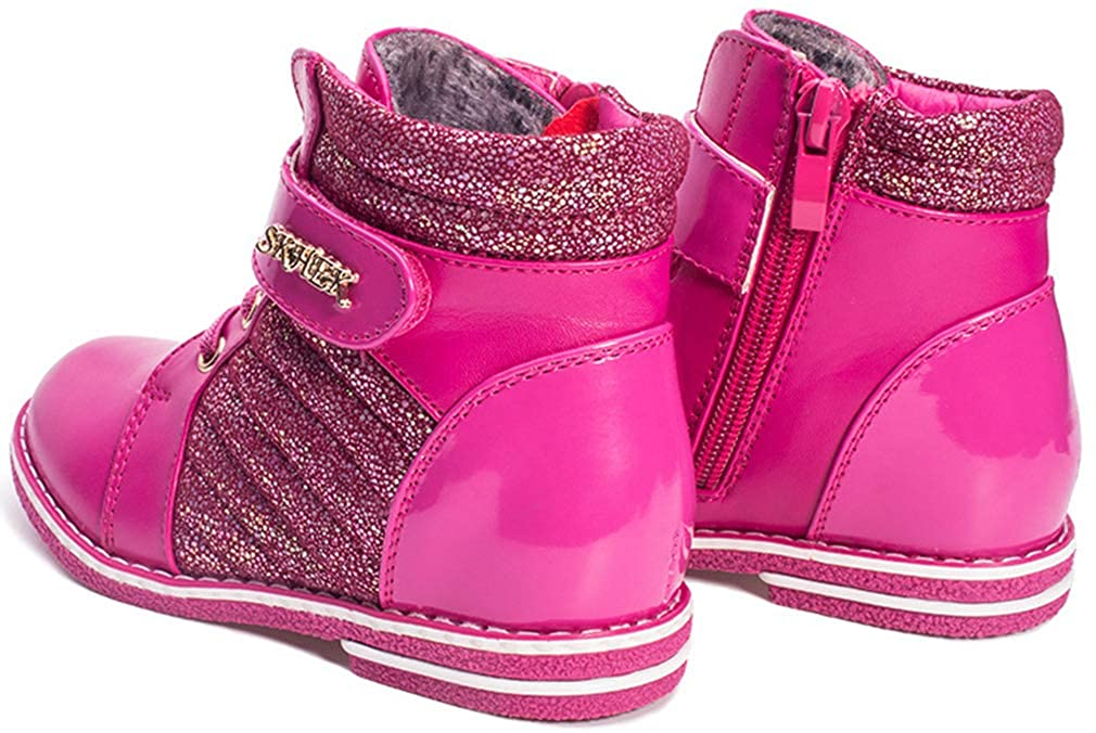 Toddler//Little Kid VECJUNIA Girls Fashion PU Ankle High Zip Up Nonslip Martin Boots Dressy