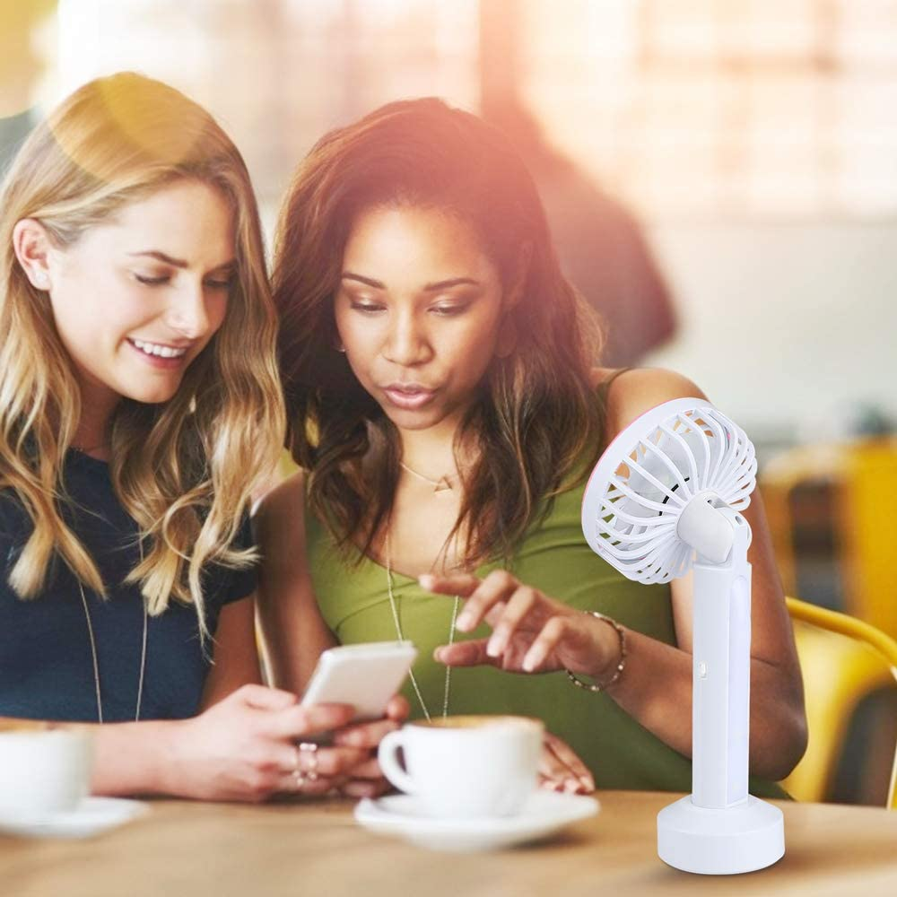 MASBRILL Mini Ventilateur USB /à Main Vert Ventilateur de Table avec Rechargeable Batterie Silencieux Portable Ventilateur 3 Vitesses et Luminosit/é R/églables pour Bureau Table Voyage Camping