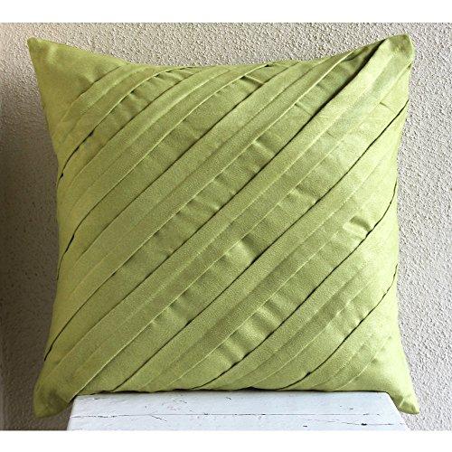 Apple Green Pillow - Handmade Apple Green Throw Pillows Cover, Textured Pintucks Solid Color Pillowcases, Pillow Covers 16