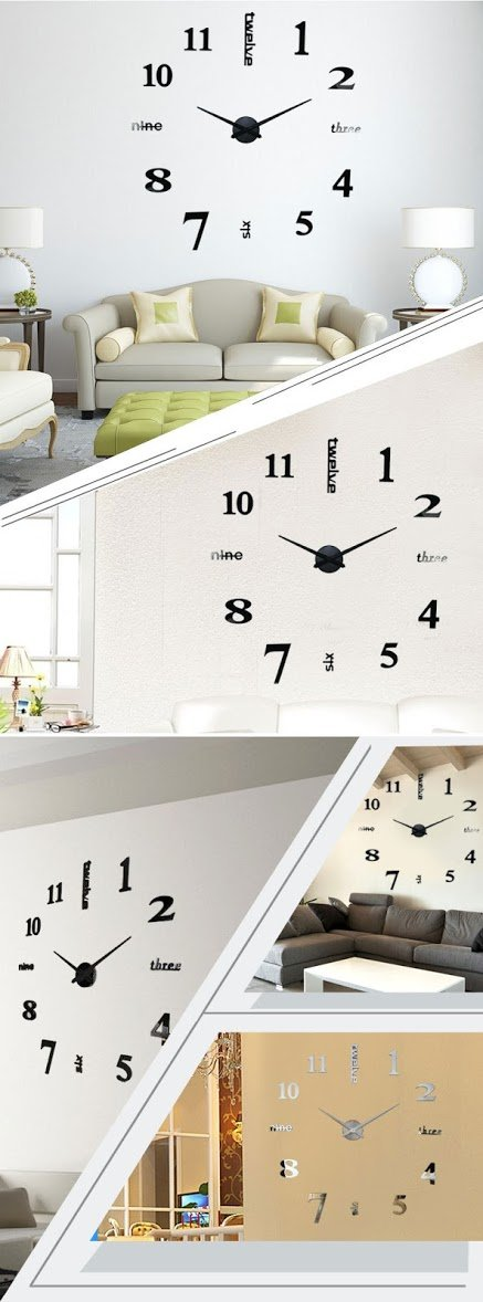 Amazon.com: 2016 New 3D Large Quartz Clock Home Decor Modern Fashion Watch DIY Big Analog Wall Clock Mirror Sticker Living Room Decoration: Kitchen & Dining