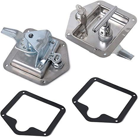 2x Folding T Handle Lock Flush Mount Tool Box Lock Trailer Truck Paddle Latch