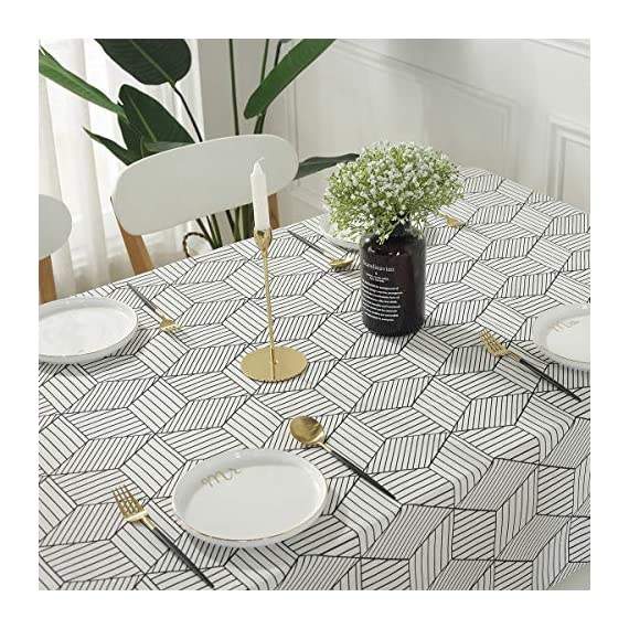 "SESTYLE Rectangle Tablecloth Geometric Style Cotton Linen Table Cloth Dust-Proof Table Cover for Kitchen Dinning Tabletop Decoration (Rectangle/Oblong, 52"" x 90"" (6-8 Seats), White) - Premium Quality Tablecloth: Manufactured from super, hard wearing cotton linen fabric, won't easily fray after long term use; an inherent quality of natural, handcrafted linen pieces, which only add to their beauty. Versatile Table Protector: This rectangular tablecloth is reminiscent of casual dining and perfect for everyday meals with the family, parties, birthdays or special holiday gatherings, indoor and outdoor use, weddings and more. Decoration Your Home: Add flowers, candles or a seasonal centerpiece to tables cape. and keep dust off and protect your table,tablecloth and furniture tops against scratches, scuffs, stains while still show the beauty of your table and furniture tops. - tablecloths, kitchen-dining-room-table-linens, kitchen-dining-room - 61ilNx8EAyL. SS570  -"