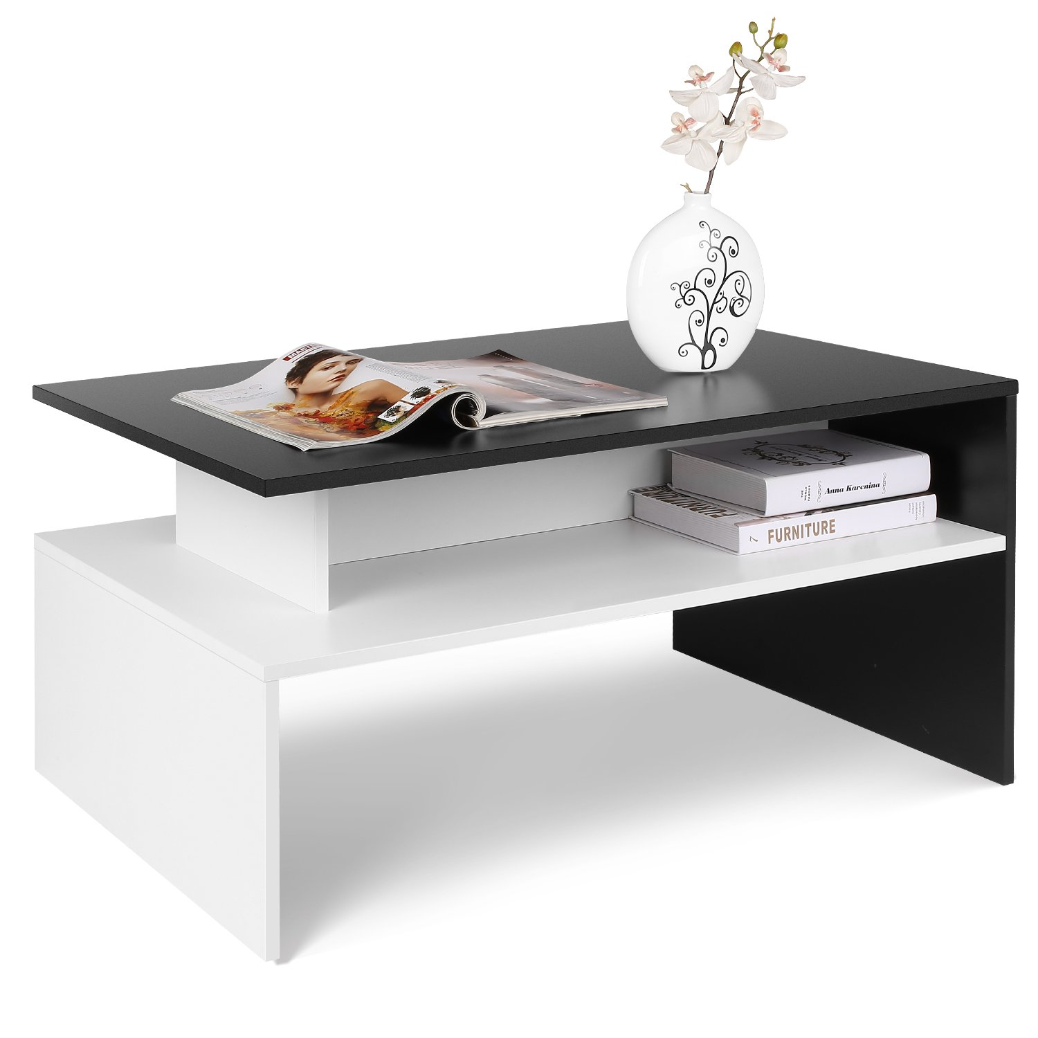 Homfa Coffee Table Side Table Living Room Home Furniture 2 Shelves Modern Storage Display Unit (Black+White) HF