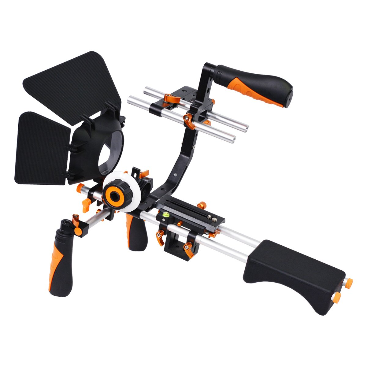 YELANGU Video Camera Shoulder Rig Support with Matte Box Follow Fcous for All DSLR Cameras and Camcorders (Orange)