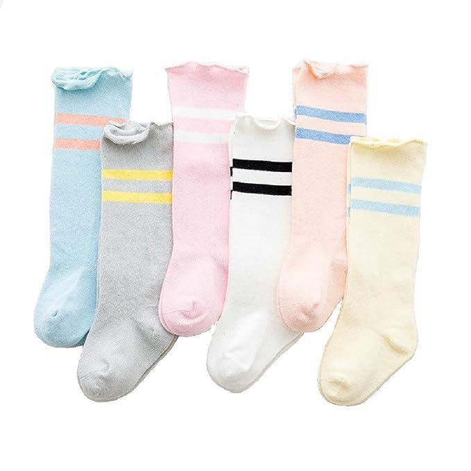 Amazon.com: 6 pares calcetines de algodón bebé las niñas ...
