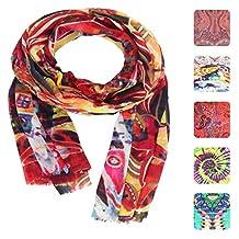 KASHFAB Kashmir Womens Printed Scarf Wool Silk Stole Shawl Warm Pashmina Red