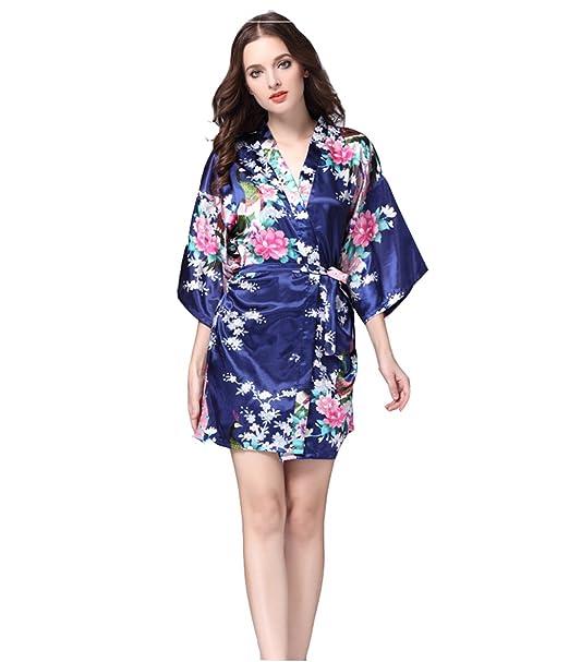 DSJJ Pijama Mujer Verano Sexy Batas de casa con Escote Ropa de Dormir Seda