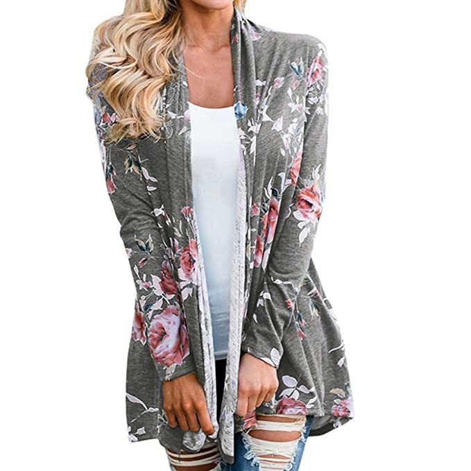 Chaqueta de mujer con estampado de flores, frente abierto Kimono Overcoat Casual Cardigan (S