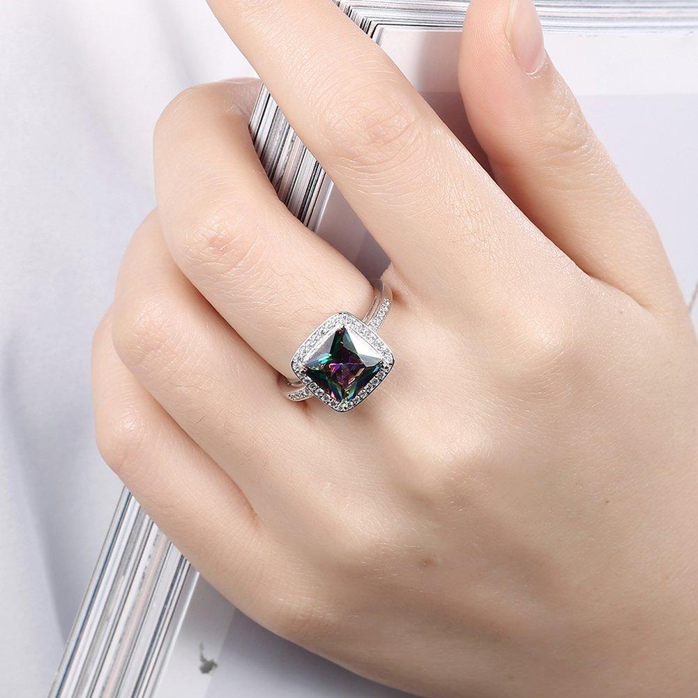 missrui lujo cuadrado Zircon cúbico boda anillo de compromiso para las mujeres novia de regalo de cumpleaños para mujer: Amazon.es: Joyería