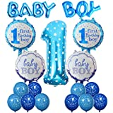 Cocodeko 1st Birthday Decoration, Inflatable Helium Foil Balloons Baby Boys Birthday Party Air Balloons Set Supplies for Baby Shower Photo Props Blue Number First Birthday Decorations - Boy