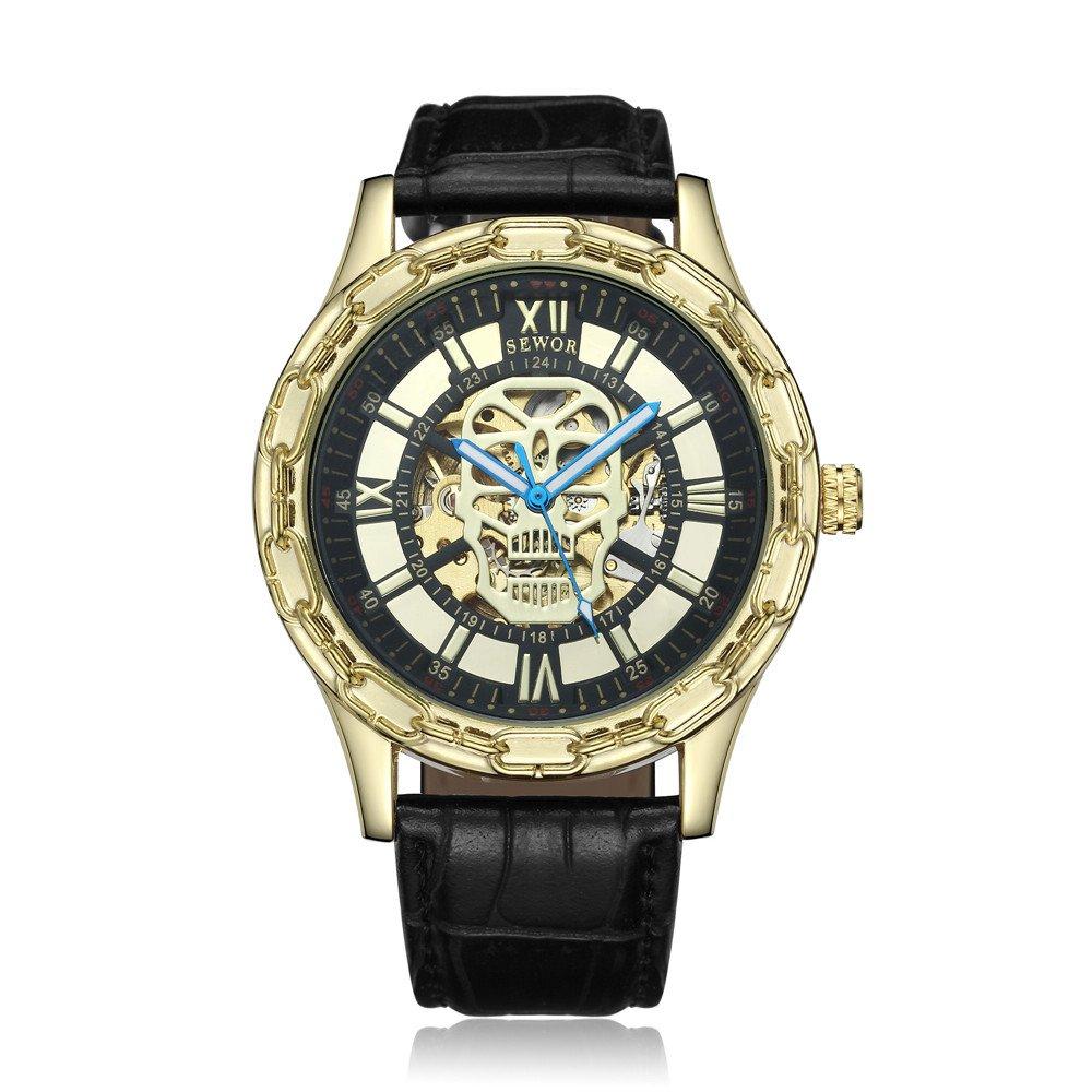 Seworメンズゴールドスケルトン透明ヴィンテージスタイル機械(自動)腕時計 B06Y2F2ZVP