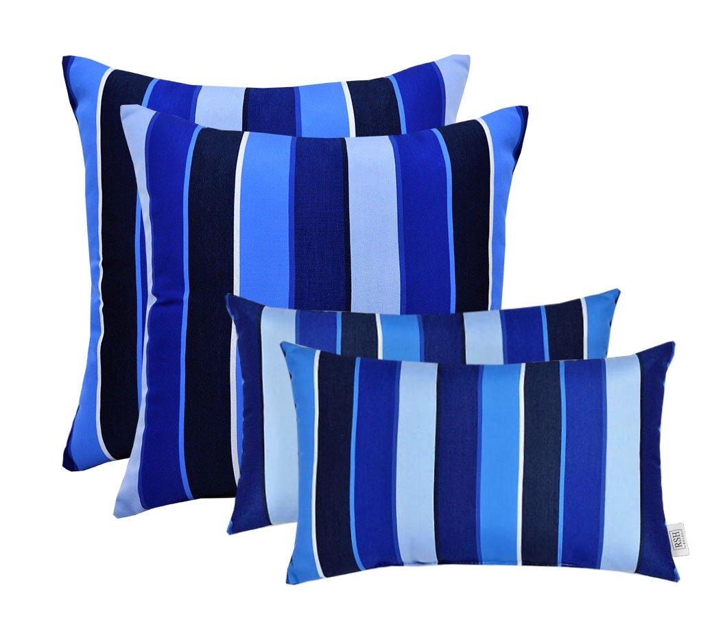 RSH D cor Set of 4 Indoor Outdoor Square Rectangle Throw Pillows Sunbrella Milano Cobolt Blue Stripe 12 x 20 17 x 17