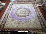 10×14 Large Purple Pure 100 Silk Oriental Persian Area Rug Hand Knotted Carpet Review