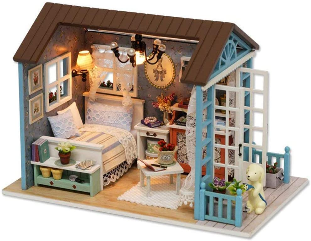 UniHobby DIY Dollhouse Miniature Kit Romantic Forest Time Wooden Mini House Toy with Furniture Lights