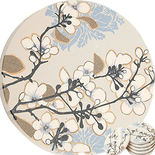 - Enkore Ceramic Coasters, Dogwood Branch Design - 6 Pack of Absorbent Stone For Drinks, Protect Furniture From Coffee Or Tea Marks