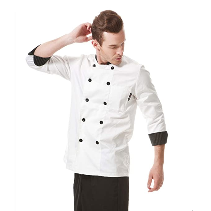 dcb4dd5a063 Image Unavailable. Image not available for. Color  XINFU Black and White  Striped Collar Chef s Uniform ...