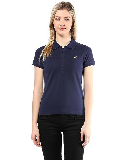 df2fb06f07b0a AMERICAN CREW Women s Polo Collar Solid Navy Blue T-Shirt - XL (ACW711-