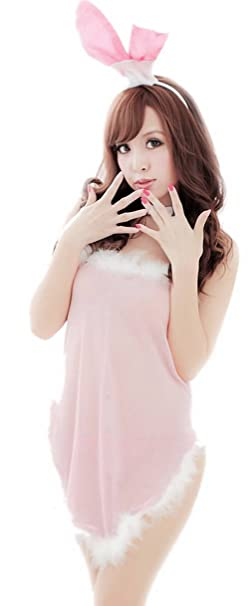 COMVIP Mujeres Ropa interior atractiva del conejito cosplay ropa de dormir Set Talla única Rosado
